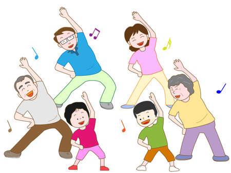 Gymnastics family  イラスト・ベクター素材