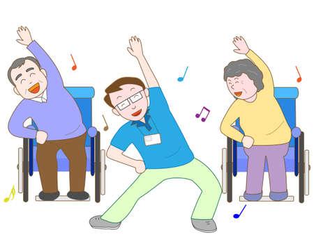 pflegeversicherung: Übung für ältere Menschen im Rollstuhl Illustration