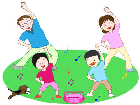 outdoor sports: Gymnastics family Illustration