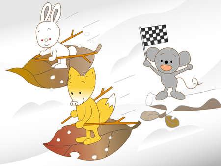 Animal ski Illustration