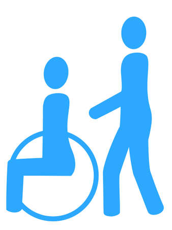 nursing care are for seniors: Icon for people with disabilities and caregivers Illustration