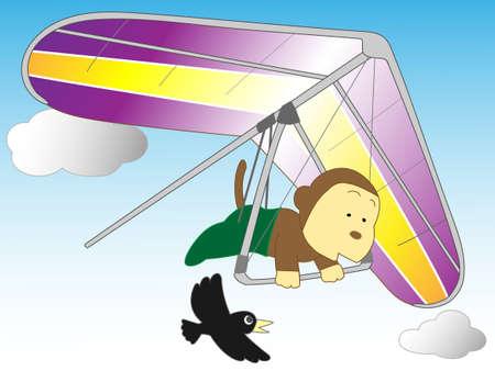 hang gliding: Monkeys hang gliding Illustration