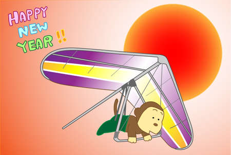 hang gliding: New years card material Illustration