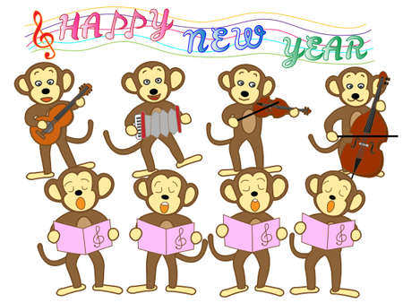material: New years card material Illustration