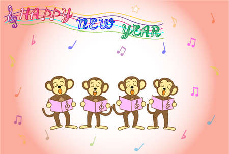 posting: Posting of a chorus of monkey Illustration