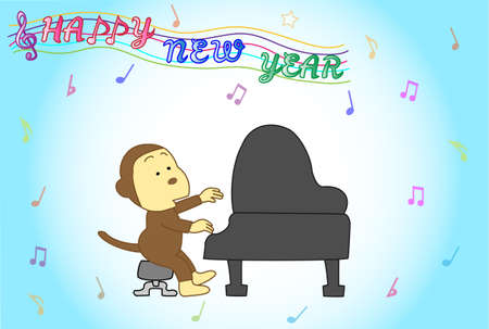 posting: Monkey pianist posting Illustration