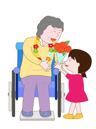 persona en silla de ruedas: Celebración de las personas mayores Vectores