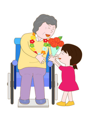 nursing care are for seniors: Celebration of the elderly Illustration