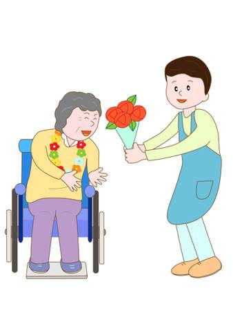 nursing care are for seniors: Celebration of the elderly Illustration