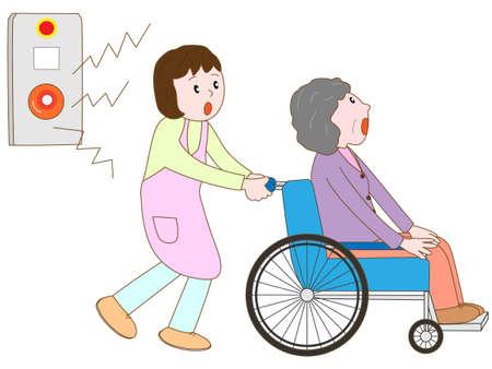 Oude man in de rolstoel om hun toevlucht te nemen in het alarm