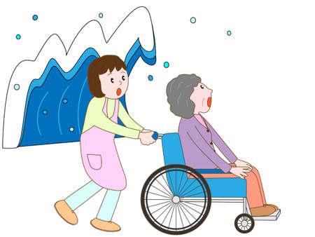 pflegeversicherung: Alte Mann im Rollstuhl, Zuflucht in der Tsunami-nehmen