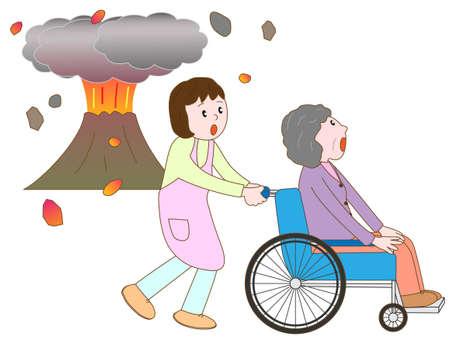 pflegeversicherung: Alter Mann im Rollstuhl Zuflucht in der Eruption zu nehmen