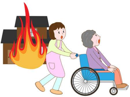 pflegeversicherung: Alter Mann im Rollstuhl Zuflucht im Feuer zu nehmen