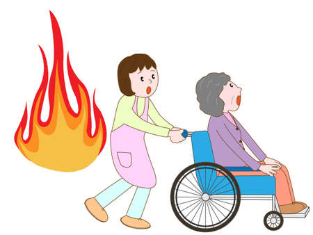 Wheelchair elderly displaced by the fire with care