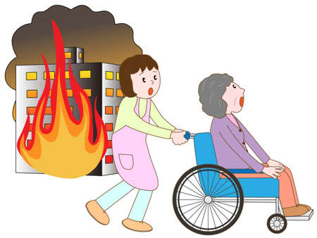 detectors: Old man in a wheelchair to take shelter in a building fire and care