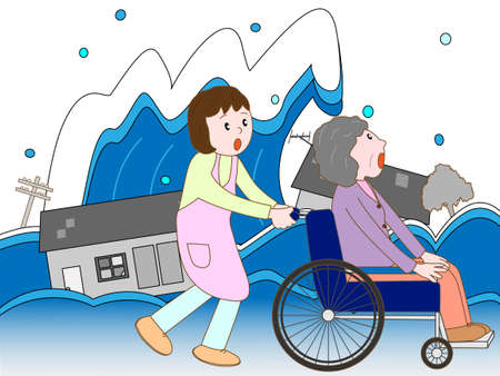 Wheelchair man displaced by the tsunami and caregivers Illustration