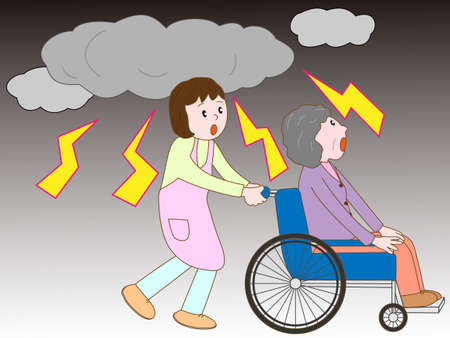 refuge: Old man in the wheelchair to take refuge in the lightning and caregivers Illustration