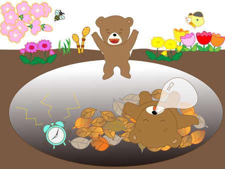 full of holes: Hibernating bear family
