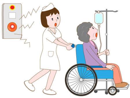 pflegeversicherung: Krankenhauspatienten durch die Notfall evakuiert Glocke