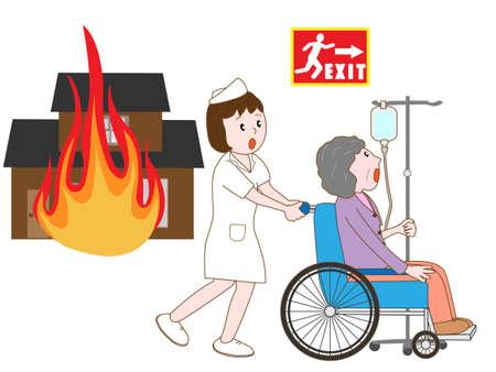pflegeversicherung: Hospitalisierten Patienten, Zuflucht in einem Haus Feuer nehmen
