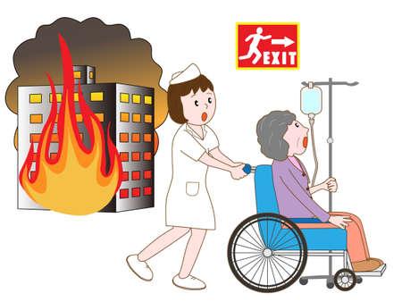 pflegeversicherung: Patient Evakuierung im Gebäude Feuer Illustration