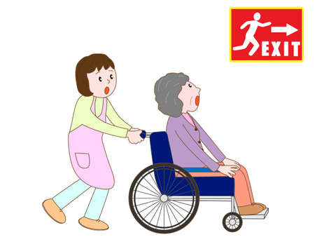 detectors: Elderly people on alert to evacuate to emergency exit Illustration