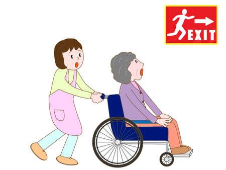 Elderly people on alert to evacuate to emergency exit Illustration