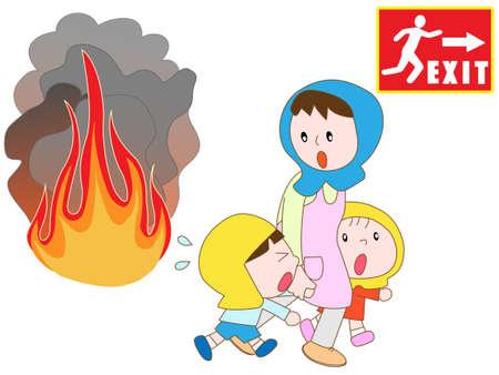 salidas de emergencia: Los padres y los ni�os evacuados a las salidas de emergencia en el fuego Vectores