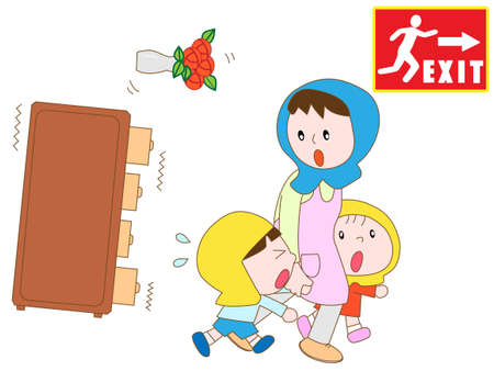Parents and children evacuated to emergency exits in the earthquake Illustration