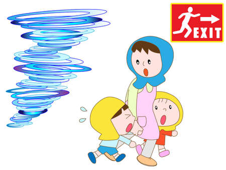 Parents and children to take refuge in the emergency exit in the tornado Illustration