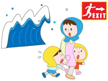 salidas de emergencia: Los padres y los ni�os para evacuar a las salidas de emergencia en el tsunami