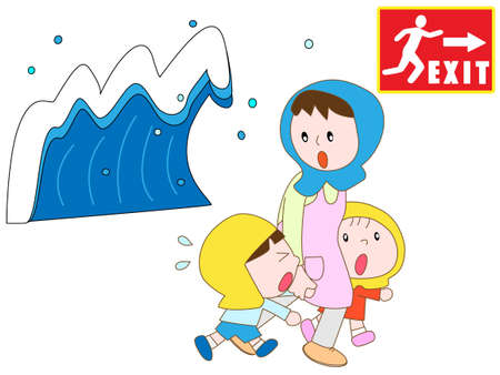 evacuate: Parents and children to evacuate to emergency exits in the tsunami Illustration