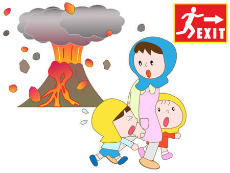 Parents and children to evacuate evacuation exit in the eruption Ilustração