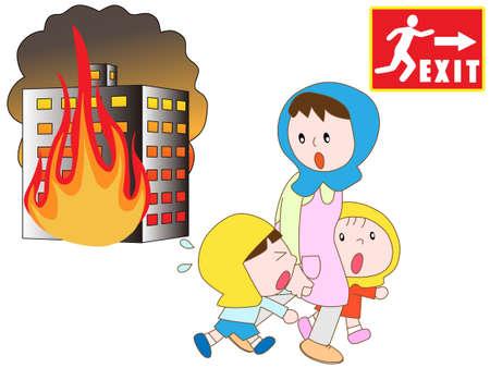 salida de emergencia: Padre-hijo en el fuego para evacuar a la salida de emergencia Vectores