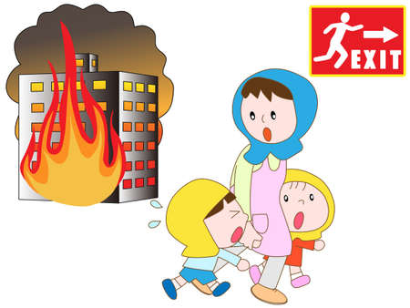 Parentchild in the fire to evacuate to emergency exit