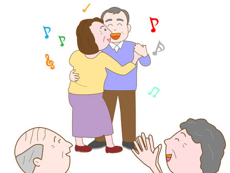 nursing care are for seniors: Elderly couples dancing Illustration