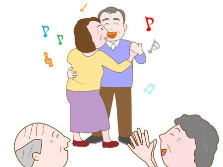 Elderly couples dancing 向量圖像