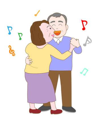 ageing: Elderly couples dancing Illustration