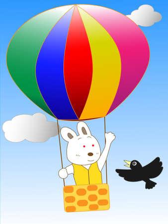 air flow: Rabbit in a hot-air balloon adventures Illustration
