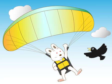 paragliding: rabbit paragliding  Illustration