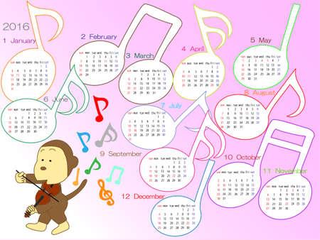 Music calendar in 2016.  イラスト・ベクター素材