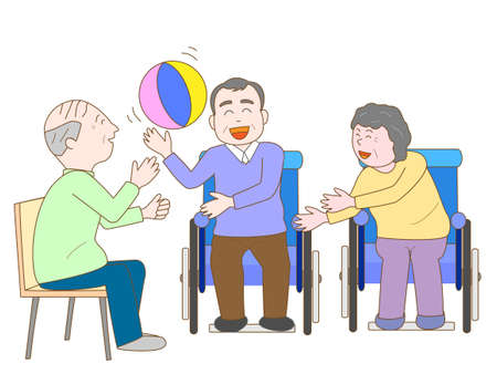 nurse home: Exercise for the elderly Illustration