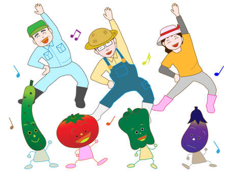 Farmers and Vegetable Twister Illustration
