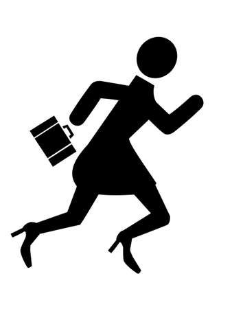 hard day at the office: Business woman running silhouette icon