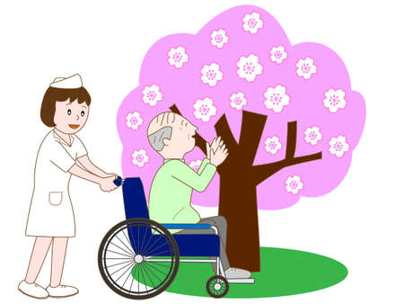 old nursing: Elderly enjoying seeing cherry blossom