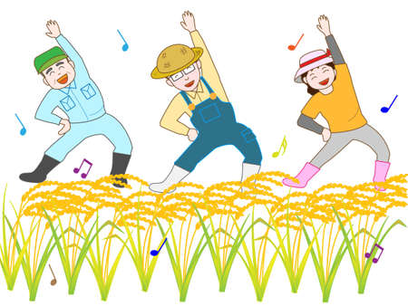 paddy field: The exercise of U.S. farmers. The joy of harvest