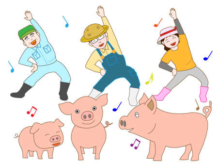 husbandry: Exercise of the pig farmers Illustration