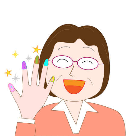 Be fashionable with the nail for the elderly Illustration