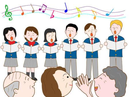 pop music: Volunteer in a nursing home for senior high school students Illustration