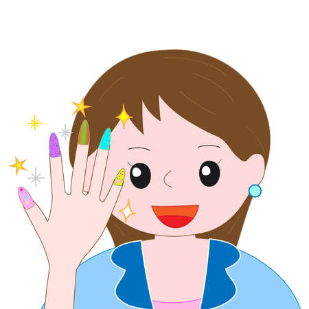 well being: Young woman with painted nails